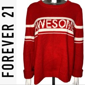 Forever 21 Varsity AWESOME Long Sleeve Sweater